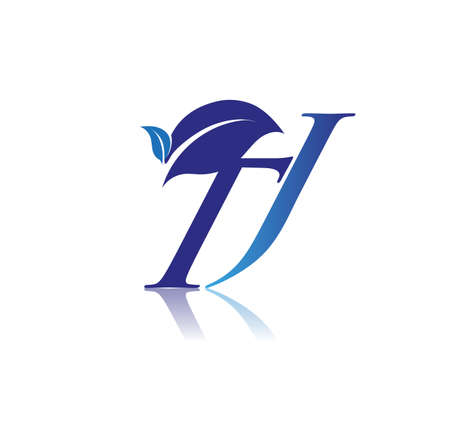Initial Letter TJ With Leaf Logo, colored blue nature and environment logo. vector logo for business and company identity.