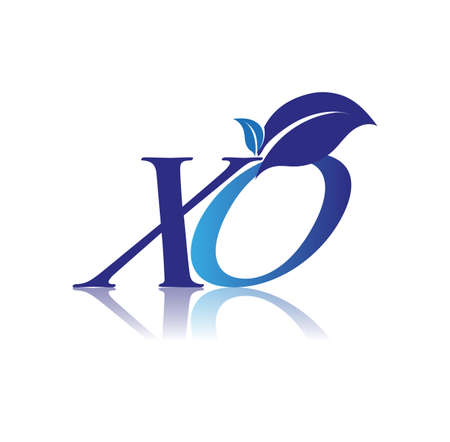 Initial Letter XO With Leaf Logo, colored blue nature and environment logo. vector logo for business and company identity.