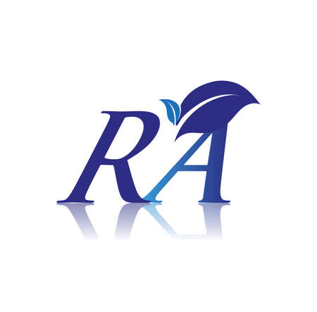 Initial Letter RA With Leaf Logo, colored blue nature and environment logo. vector logo for business and company identity.