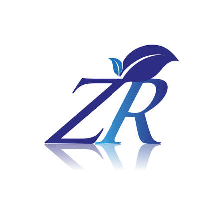 Initial Letter ZR With Leaf Logo, colored blue nature and environment logo. vector logo for business and company identity.