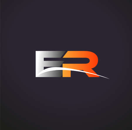 initial letter ER logotype company name colored grey and orange swoosh design. isolated on black background.