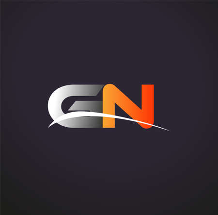 initial letter GN logotype company name colored grey and orange swoosh design. isolated on black background.