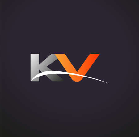 initial letter KV logotype company name colored grey and orange swoosh design. isolated on black background.