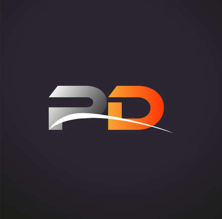 initial letter PD logotype company name colored grey and orange swoosh design. isolated on black background.