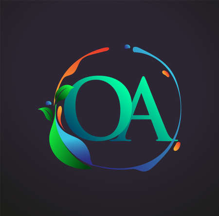 Initial Letter OA With nature elements Logo, colorful nature and environment logo. vector logo for business and company identity.