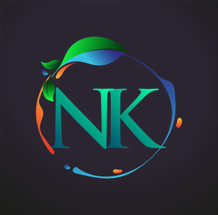 Initial Letter NK With nature elements Logo, colorful nature and environment logo. vector logo for business and company identity.