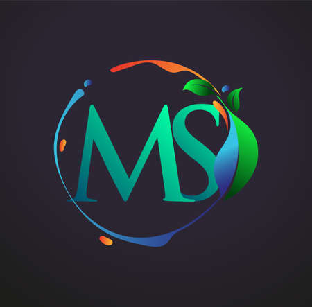 Initial Letter MS With nature elements Logo, colorful nature and environment logo. vector logo for business and company identity.