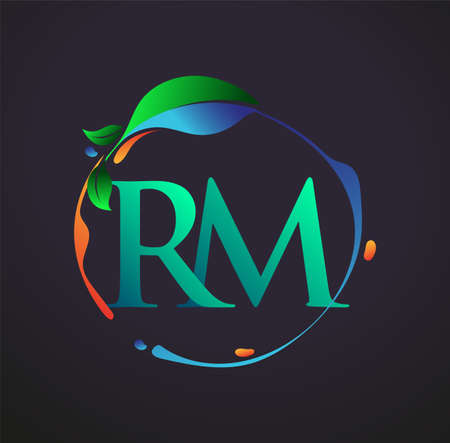 Initial Letter RM With nature elements Logo, colorful nature and environment logo. vector logo for business and company identity. Logó