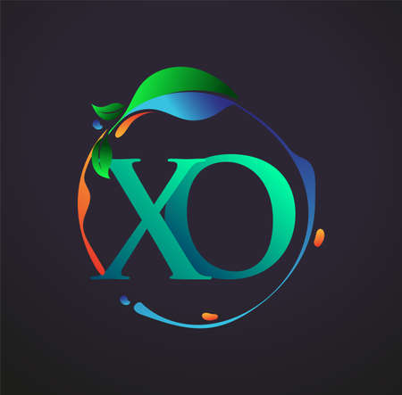 Initial Letter XO With nature elements Logo, colorful nature and environment logo. vector logo for business and company identity.