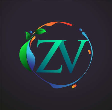 Initial Letter ZV With nature elements Logo, colorful nature and environment logo. vector logo for business and company identity.