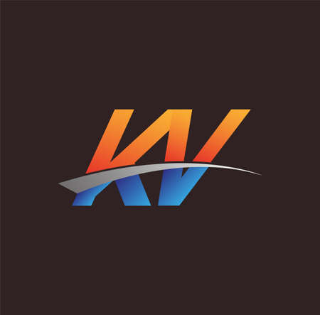 initial letter KV logotype company name colored orange and blue and swoosh design. vector logo for business and company identity. Logó