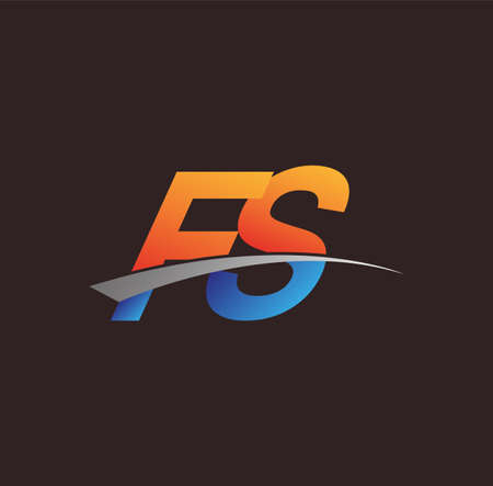 initial letter FS logotype company name colored orange and blue and swoosh design. vector logo for business and company identity. Ilustração