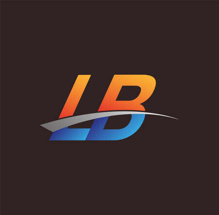 initial letter LB logotype company name colored orange and blue and swoosh design. vector logo for business and company identity.