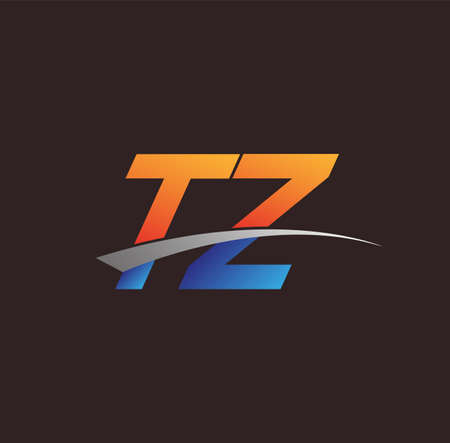 initial letter TZ logotype company name colored orange and blue and swoosh design. vector logo for business and company identity.