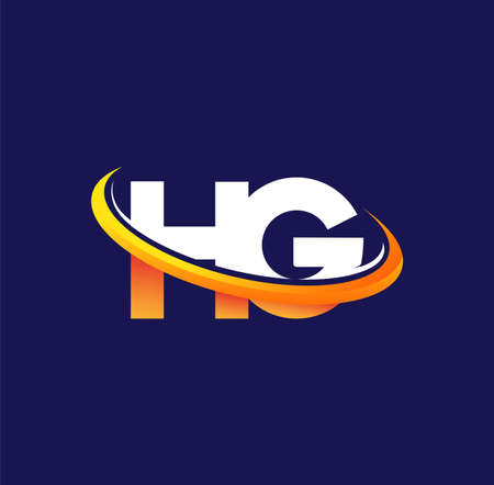 HG initial logo company name colored white and orange swoosh design, isolated on dark background. vector logo for business and company identity.