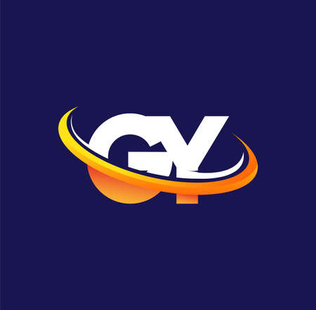 GY initial logo company name colored white and orange swoosh design, isolated on dark background. vector logo for business and company identity.
