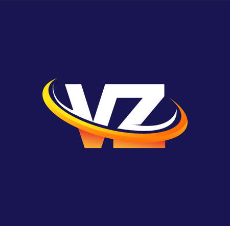 VZ initial logo company name colored white and orange swoosh design, isolated on dark background. vector logo for business and company identity. Logó