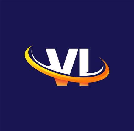 VI initial logo company name colored white and orange swoosh design, isolated on dark background. vector logo for business and company identity. Logó
