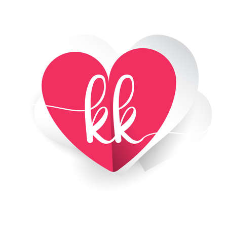 initial logo letter KK with heart shape red colored, logo design for wedding invitation, wedding name and business name.