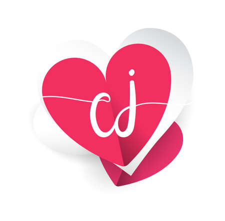 initial logo letter CJ with heart shape red colored, logo design for wedding invitation, wedding name and business name.