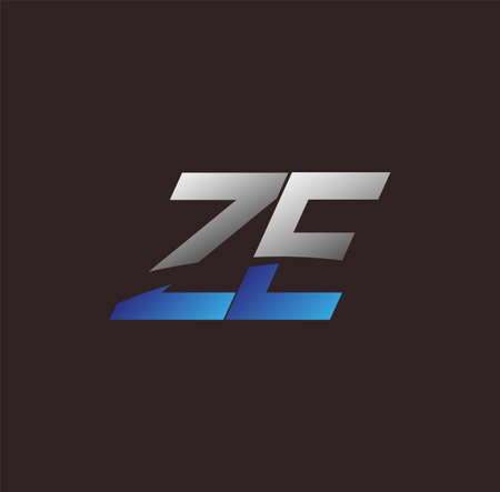 initial letter logo ZE colored white and blue, Vector logo design template elements for your business or company identity
