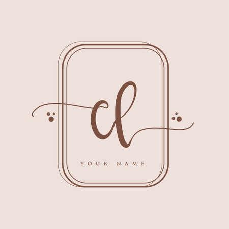 CL Initial handwriting logo. Hand lettering Initials logo branding, Feminine and luxury logo design isolated on elegant background.