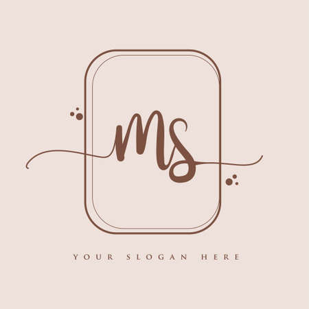 MS Initial handwriting logo. Hand lettering Initials logo branding, Feminine and luxury logo design isolated on elegant background.