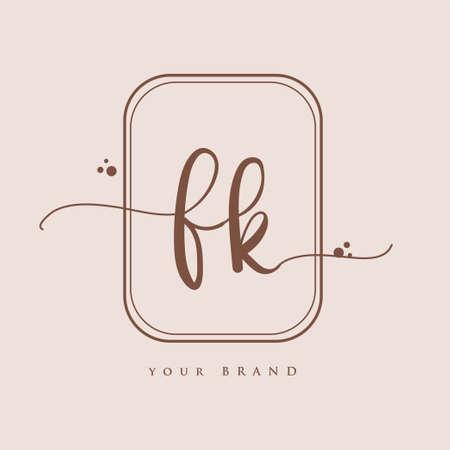 FK Initial handwriting logo. Hand lettering Initials logo branding, Feminine and luxury logo design isolated on elegant background. Logó