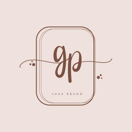 GP Initial handwriting logo. Hand lettering Initials logo branding, Feminine and luxury logo design isolated on elegant background.