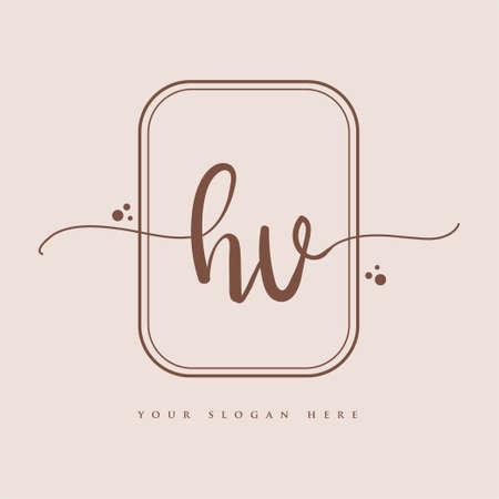 HV Initial handwriting logo. Hand lettering Initials logo branding, Feminine and luxury logo design isolated on elegant background.