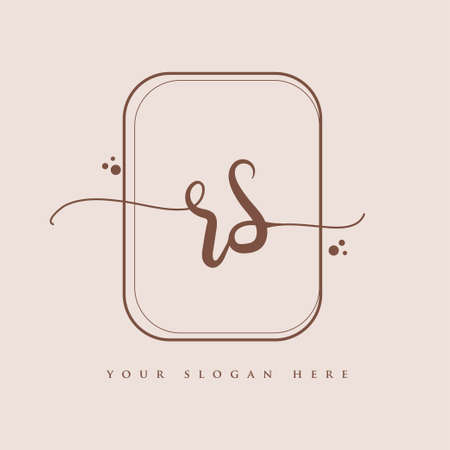 RS Initial handwriting logo. Hand lettering Initials logo branding, Feminine and luxury logo design isolated on elegant background.