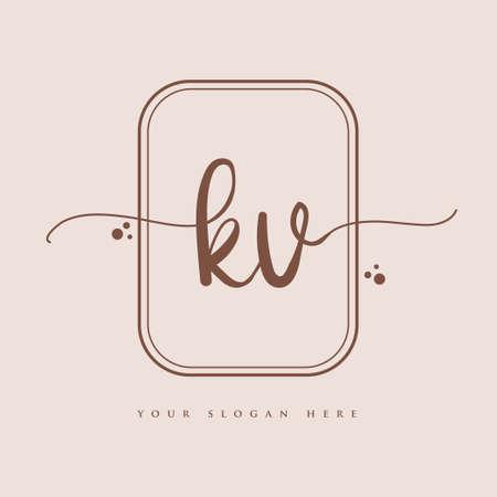 KV Initial handwriting logo. Hand lettering Initials logo branding, Feminine and luxury logo design isolated on elegant background. Logó