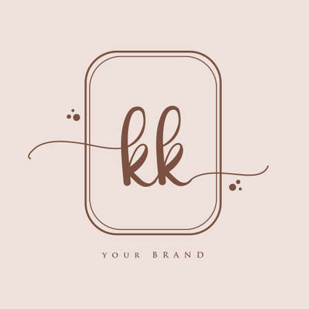 KK Initial handwriting logo. Hand lettering Initials logo branding, Feminine and luxury logo design isolated on elegant background.