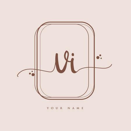 VI Initial handwriting logo. Hand lettering Initials logo branding, Feminine and luxury logo design isolated on elegant background.