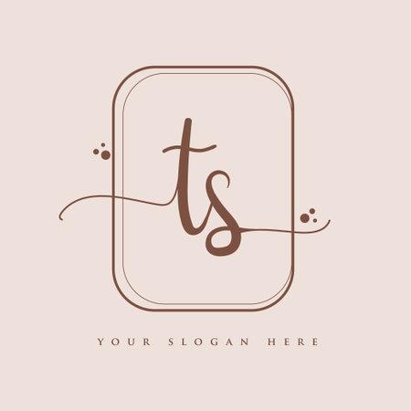 TS Initial handwriting logo. Hand lettering Initials logo branding, Feminine and luxury logo design isolated on elegant background. Logó