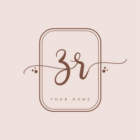 ZR Initial handwriting logo. Hand lettering Initials logo branding, Feminine and luxury logo design isolated on elegant background.