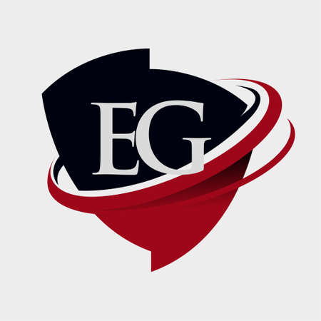 initial letter EG logotype company name colored red and black swoosh and emblem design. isolated on white background. Logó