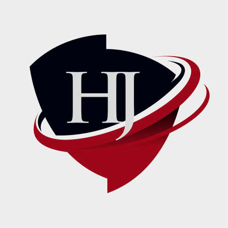 initial letter HJ logotype company name colored red and black swoosh and emblem design. isolated on white background.