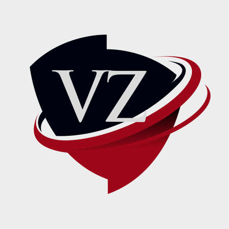 initial letter VZ logotype company name colored red and black swoosh and emblem design. isolated on white background.