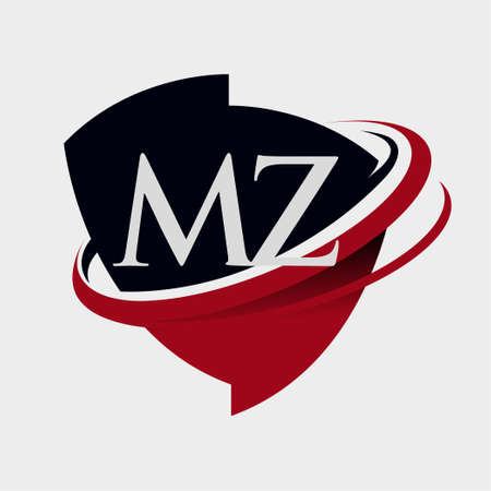 initial letter MZ logotype company name colored red and black swoosh and emblem design. isolated on white background.