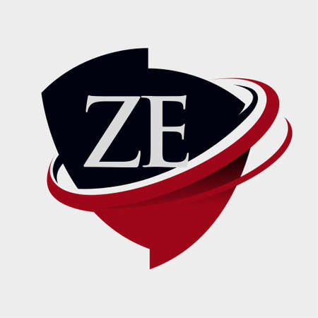 initial letter ZE logotype company name colored red and black swoosh and emblem design. isolated on white background. Logo