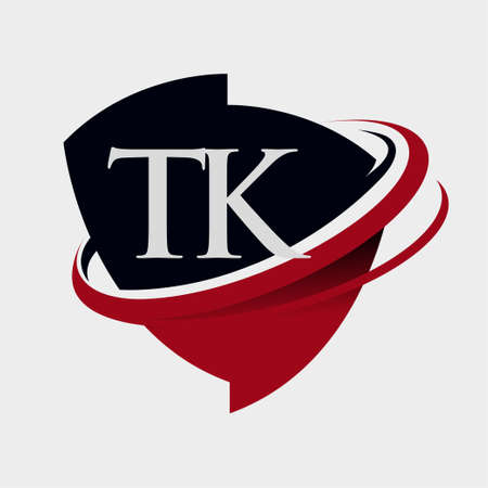 initial letter TK logotype company name colored red and black swoosh and emblem design. isolated on white background.