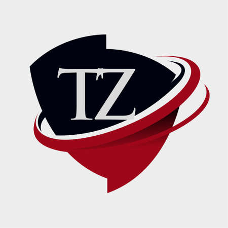 initial letter TZ logotype company name colored red and black swoosh and emblem design. isolated on white background. Logó