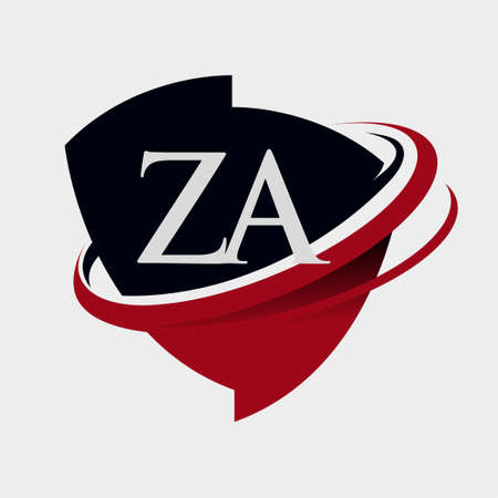 initial letter ZA logotype company name colored red and black swoosh and emblem design. isolated on white background.