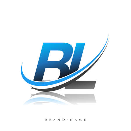 BL initial logo company name colored blue and black swoosh design, isolated on white background. vector logo for business and company identity.