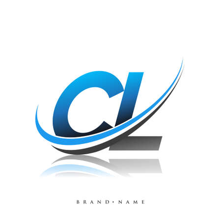 CL initial logo company name colored blue and black swoosh design, isolated on white background. vector logo for business and company identity.