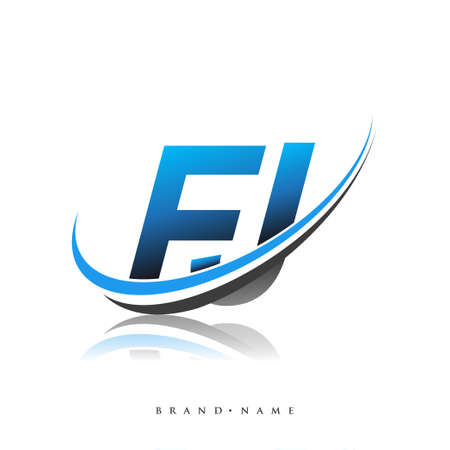FJ initial logo company name colored blue and black swoosh design, isolated on white background. vector logo for business and company identity. Logó