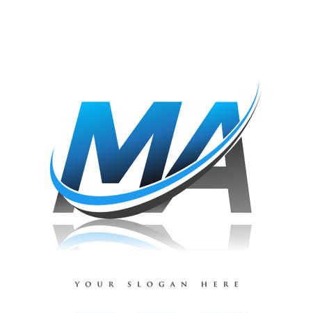 MA initial logo company name colored blue and black swoosh design, isolated on white background. vector logo for business and company identity.