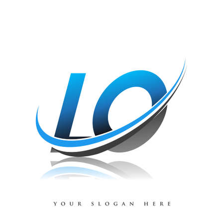 LO initial logo company name colored blue and black swoosh design, isolated on white background. vector logo for business and company identity.
