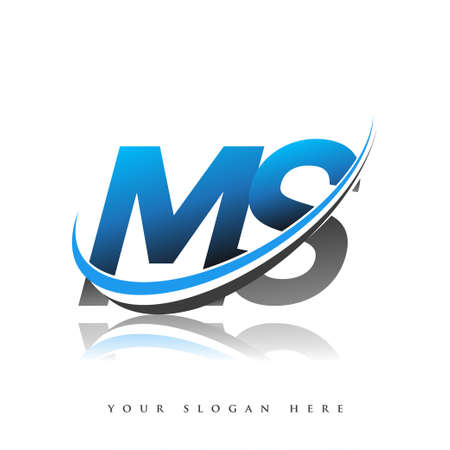 MS initial logo company name colored blue and black swoosh design, isolated on white background. vector logo for business and company identity. 向量圖像